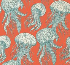 Thibaut Jelly Fish Bloom Coral and Turquoise Wallpaper Design Style - Coastal TM Interiors Limited Not to be feared the friendly jellyfish in Jellyfish Bloom are fun and novel Ed Wallpaper, Turquoise Wallpaper, Friends Wallpaper, Pattern Wallpaper, Flower Wallpaper, Coral Home Decor, Coral Bathroom, Papel Scrapbook, Batik Pattern