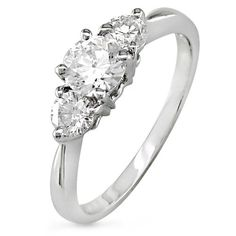 Exactly what I want--a three (not huge) diamond ring