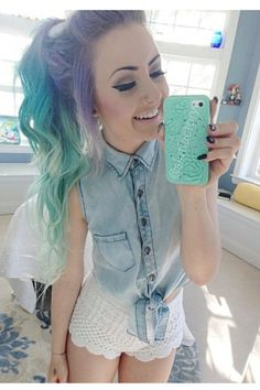 Pinterest ; @AphrodytyLikes                                                                                                                                                                                 More New Hair, Purple Ombre, Pastel Purple, Pastel Goth, Pastel Hair, Purple Hair, Pretty Pastel, Scene Girl Outfits, Scene Girls
