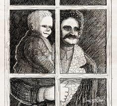 Illustrazione tratta dal diario di Yakov, un blog di fantascienza contadina del 1964 - 9° Giorno - Allunaggio, penso a mio padre.