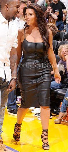 Kim Kardashian rocked the Givenchy Stretch Nappa Leather Zip Dress at the Lakers vs. Nuggets Game May 12 2012