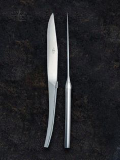 Designers Catherine & Bruno Lefebvre created these table knives in matte stainless steel. They are two of many designers and creators who designed new, innovate and beautiful interpretations of the traditional Forge de Laguiole® knife. #forgedelaguiole #laguiole #laguioleknife #knives #madeinfrance #lefebvre #designer