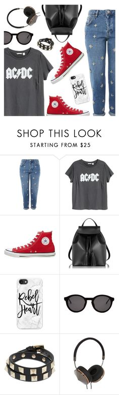 """""""Outfit of the Day"""" by dressedbyrose ❤ liked on Polyvore featuring Topshop, H&M, Converse, Le Parmentier, Casetify, Thierry Lasry, Valentino, Frends, ootd and polyvoreeditorial"""
