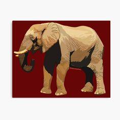 African Bush Elephant, Canvas Prints, Art Prints, Mammals, Oriental, Vibrant Colors, Landscape, Portrait, Printed