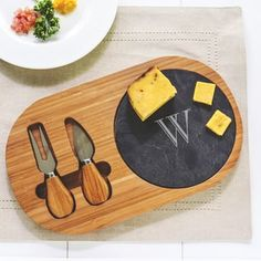 Personalized Bamboo and Slate Cheese Board Set with Utensils | Overstock.com Shopping - The Best Deals on Serving Platters/Trays