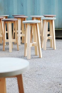 Stools.container.cement floor.birch plywoods. Chairs.outdoor.nature