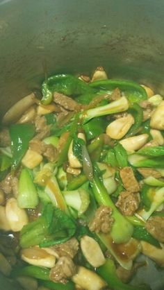 pork, mushroom, spinach and green pepper ...email me on how to cook this one...try it you wont forget it lol ^^