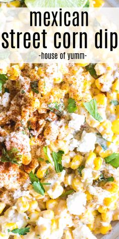 All the flavors of Mexican street corn. Perfect dip to set out for guests, bring to a potluck, or to just snack on! What is in Mexican Corn Dip? This Mexican Corn Dip has Mexican Corn Dip, Mexican Street Corn Salad, Mexican Snacks, Mexican Meals, Vegetarian Recipes Dinner, Mexican Food Recipes, Dinner Recipes, Snacks Diy, Clean Eating