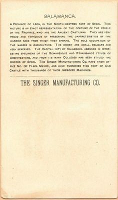 Singer Sewing Machine's World, 1892, Spain Salamanca Trade Card