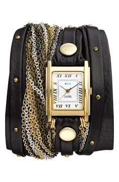 La Mer Collections 'Venice' Leather & Chain Wrap Bracelet Watch, 30mm x 23mm available at #Nordstrom