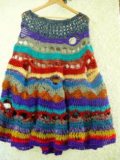 Etsy: Pepeca Gypsy Rainbow Oversized Freeform Crochet Silk and Wool Poncho