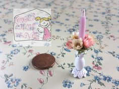 Lovely shabby chic metal candlestick with Small pink Flower and pink candle Dollhouse Decoration 1:12th Scale by GugasMiniPlace on Etsy