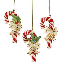 Lenox-You and your family will enjoy decorating the tree with the 3-Piece Candy Cane Ornament Set. Each ornament is crafted of fine porcelain and painted by hand in holiday hues. And each ornament is decorated with a different holiday design - jingle bells, holly and berries, and evergreens with holiday lights.