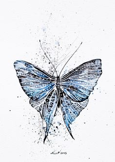 Blue butterfly Original Watercolor ink by NORAillustration on Etsy