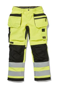 Women's high visibility work trousers with holster pockets combining great fit and comfort with advanced functionality. Advanced knee protection, built-in ventilation and stretch gusset in crotch and back panel for all-round performance. Snickers Workwear, Hi Vis Workwear, Work Trousers, Courses, Cargo Pants, Work Wear, Bermuda Shorts, Mens Fashion, Pocket