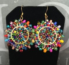 Small Seed Bead Earrings Confetti Splash - Bold Multicolored Disk Earrings by WorkofHeart on Etsy Big Earrings, Seed Bead Earrings, Beaded Earrings, Seed Beads, Beaded Jewelry, Statement Earrings, 14 Carat, Diamond Solitaire Necklace, Holiday Jewelry
