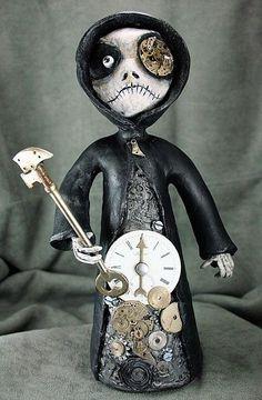 Art: Steampunk Grim Reaper Times Up Art Doll by Artist Michele Lynch