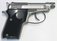 Beretta 21A in stainless steel with threaded barrel.  CQB.