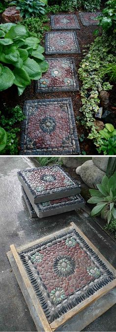 Pebble Mosaic Stepping Stones diy garden stepping stones 10 Design Ideas For Amazing DIY Garden Pathways Stone Garden Paths, Garden Paving, Garden Steps, Diy Garden, Garden Art, Stone Walkway, Dream Garden, Indoor Garden, Paving Design
