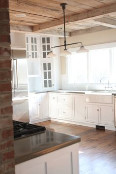 Kitchen Lighting Remodel on the opposite side of the fireplace is the stove, in this farmhouse kitchen Farmhouse Renovation, Farmhouse Remodel, Home Renovation, Home Remodeling, Kitchen Redo, New Kitchen, Kitchen Remodel, Awesome Kitchen, Kitchen White