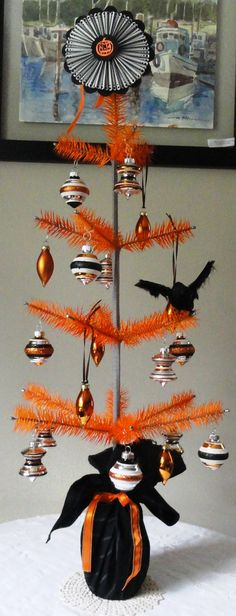 Orange and Gray Halloween Goose Feather Tabletop Tree by Efeeks