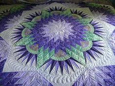 Compass Star, Roxanne Carter sells the class handout for this quilt.so many quilts, not enough beds. Longarm Quilting, Free Motion Quilting, Machine Quilting, Quilting Projects, Quilting Designs, Quilting Ideas, Lone Star Quilt, Star Quilts, Quilt Blocks