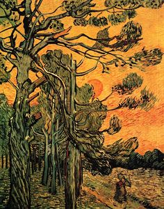 Pine Trees against a Red Sky with Setting Sun. Vincent van         Gogh                                              Kröller-Müller Museum, Otterlo. 1889. 92.0 x 73.0 cm