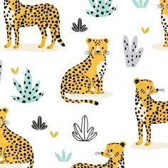 Cheetah Drawing, Tiger Drawing, Tiger Illustration, Pattern Illustration, Kids Prints, Baby Prints, Kawaii Drawings, Cute Drawings, Baby Cartoon Drawing