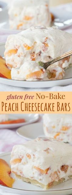 Gluten Free No Bake Peach Cheesecake Bars - a creamy summer dessert recipe filled with fresh peaches and an easy almond meal crust.