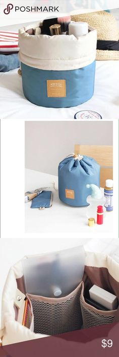 Toiletry Travel Pouch - Brand new Brand new in blue or pink! Perfect for all your bottles and lotions as well as makeup, this toiletry pouch has a drawcord top and is slightly padded to cushion glass bottles. Inside, mesh pockets and elastics secure bottles and containers, while a separate zip pouch and plastic case are perfect for smaller items and makeup brushes or toothbrushes respectively. All orders come with a complimentary cosmetic sample! Bags Travel Bags