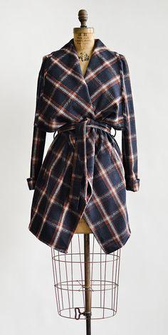 vintage inspired navy plaid belted jacket   Amid the Gusts Jacket  #vintageinspired #plaidjacket #beltedjacket