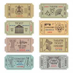 Vintage theatre or cinema tickets with different monochrome symbols of ballet or opera. Vector concert tickets and carnival illustrations set isolate on white , Planner Stickers, Journal Stickers, Printable Stickers, Cute Stickers, Printable Scrapbook Paper, Bullet Journal Vintage, Bullet Journal Ideas Pages, Arte Copic, Cinema Ticket
