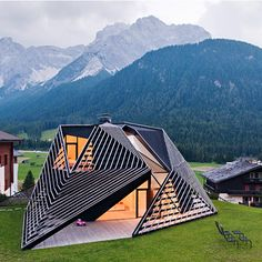 PLASMA Studio shook up the look of a quaint hamlet in the Italian Alps with the addition of this angular, timber-lattice residence linked to a more traditional villa design inspiration, architecture, luxury design . Architecture Paramétrique, Futuristic Architecture, Beautiful Architecture, Contemporary Architecture, Installation Architecture, Modern Contemporary, Green Building, Building Skin, Exterior Design