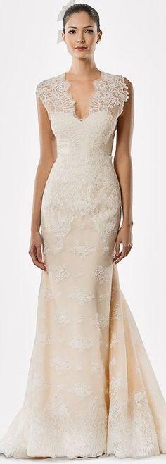 carolina herrera #bridal fall 2015 daisy lace cap sleeve #wedding dress wedding dress