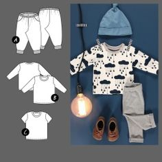 Pants and T-shirt- Bukse og T-skjorte Pants and T-shirt - Sewing For Kids, Baby Sewing, Baby Barn, T Shirt Diy, Baby Patterns, Types Of Shirts, Baby Kids, Trousers, Ruffle Blouse
