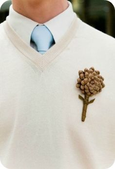 Winter Wedding Boutonniere - Kate Osborne Photography    -- I really am a fan of that blue and white pallet