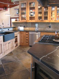 Soapstone counters & Open cabinets