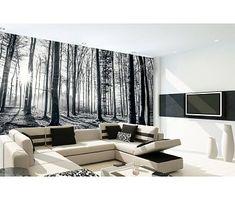 Fotobehang Forest Zwart/Wit 232 x 315 cm