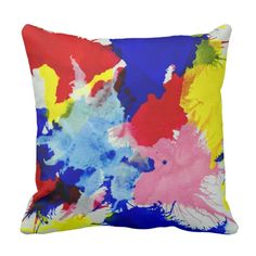 Paint Splatter, vibrant colors, abstract art Throw Pillow