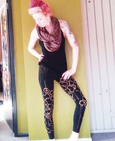 Hand-painted black geometry circuit leggings by Lauren Begent