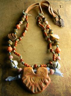 Rustic Southwestern Necklace with Polymer Clay Pendant by Gloria Ewing.
