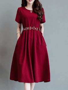 Cherry red dress for women. Stylish Dresses For Girls, Modest Dresses, Simple Dresses, Casual Dresses, Short Dresses, Women's Fashion Dresses, Dress Outfits, Casual Frocks, Frock Patterns