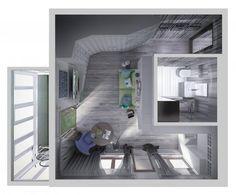 Планировка маленькой квартиры, зонирование студии, зона прихожей кухни гостиной