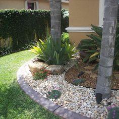 River Rock Garden Design Ideas, Pictures, Remodel, and Decor River Rock Landscaping, Florida Landscaping, Tropical Landscaping, Landscaping With Rocks, Tropical Garden, Backyard Landscaping, Landscaping Ideas, Landscaping Edging, Tropical Design