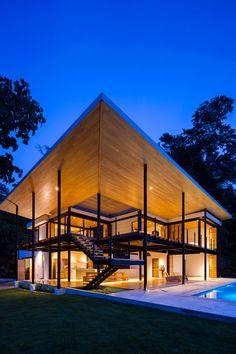 Benjamin Garcia Saxe Designs a Home in Costa Rica with Ocean Views Residential Architecture, Tropical Architecture, Architecture Design, Wooden Architecture, Modern Homes, Small Modern Home, Decor Interior Design, Interior Design Living Room, Wooden Walls