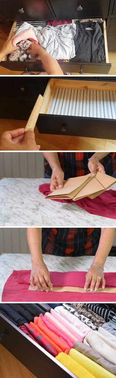 La mejor manera de doblar y guardar las blusas