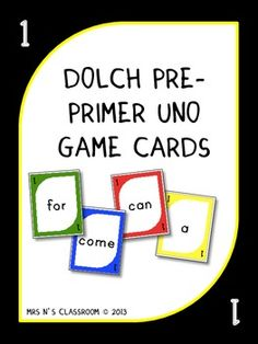 Sight Words Uno Game Cards - Dolch Pre Primer These game cards are also available in the other dolch word list.