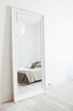 Schlafzimmer Spiegel Hemnes in bedroom ideas full length White Dream Bedroom, Home Bedroom, Bedroom Decor, Bedroom Mirrors, Big Mirror In Bedroom, Bedroom Ideas, Bedroom Storage, Full Length Mirror Bedroom, White Bedroom Furniture Ikea