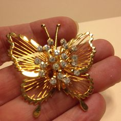 Vintage Signed MONET Rhinestone BUTTERFLY BROOCH Pin Gold Tone Costume Jewelry #Monet