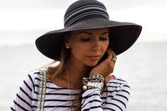 sailor stripes and summer hats - summer outfit for sailing in style